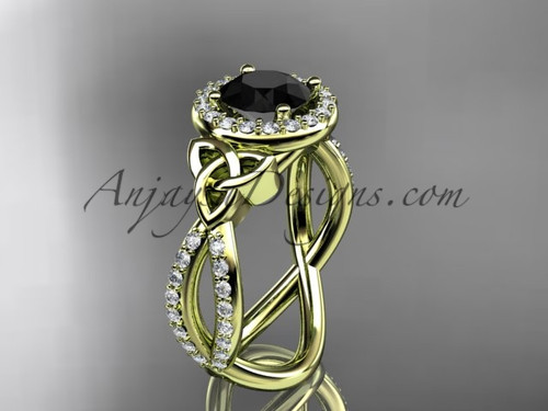 14kt yellow gold diamond celtic trinity ring,  triquetra ring, Irish engagement ring with a  Black Diamond center stone CT7374