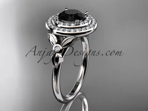14kt white gold diamond floral wedding ring, engagement ring with a Black Diamond center stone ADLR133
