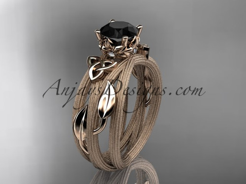 14kt rose gold diamond celtic trinity knot wedding ring, engagement ring with a Black Diamond center stone CT7253