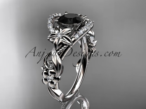 White Gold Flower Black Diamond Engagement Ring ADLR211S