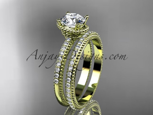 "14kt yellow gold diamond unique engagement set, wedding ring with  ""Forever One"" Moissanite  center stone  ADER86S"
