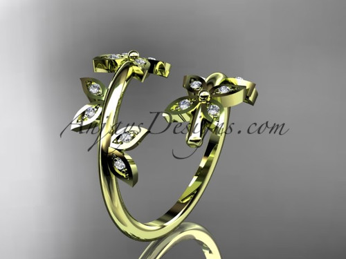14k yellow gold diamond leaf and vine wedding ring,engagement ring,wedding band ADLR27