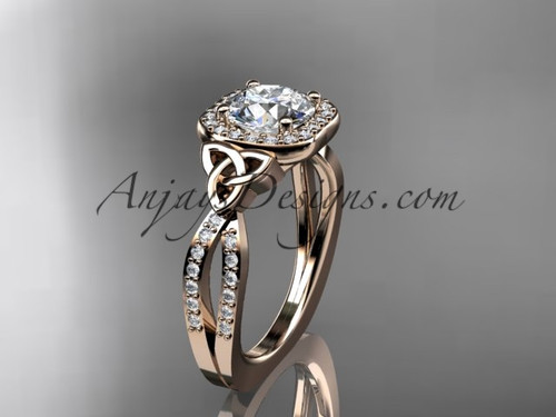 "14kt rose gold diamond celtic trinity knot wedding ring, engagement ring with a ""Forever One"" Moissanite center stone CT7393"