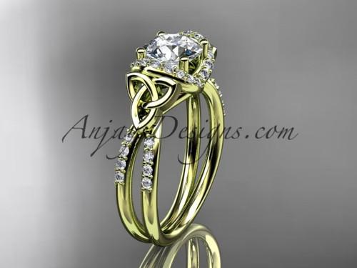 14kt yellow gold diamond celtic trinity knot wedding ring, engagement ring CT7155