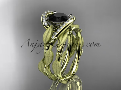 14kt yellow gold diamond leaf and vine wedding ring, engagement set with a Black Diamond center stone ADLR64S