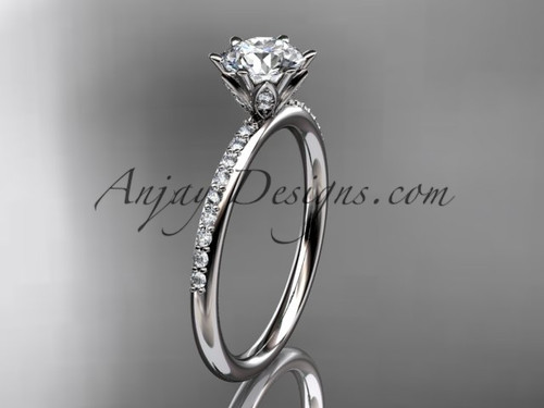 """Platinum diamond unique engagement ring, wedding ring with a """"Forever One"""" Moissanite center stone ADER145"""