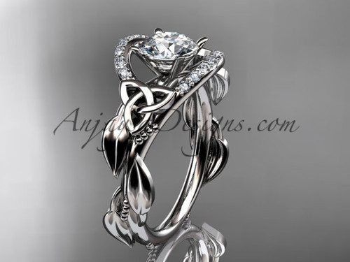 """14kt white gold diamond celtic trinity knot wedding ring, engagement ring with a """"Forever One"""" Moissanite center stoneCT7326"""