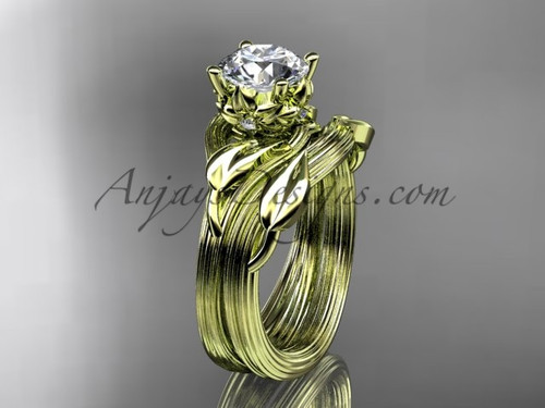 """14kt yellow gold diamond flower, leaf and vine wedding ring, engagement set with a """"Forever One"""" Moissanite center stone ADLR240S"""