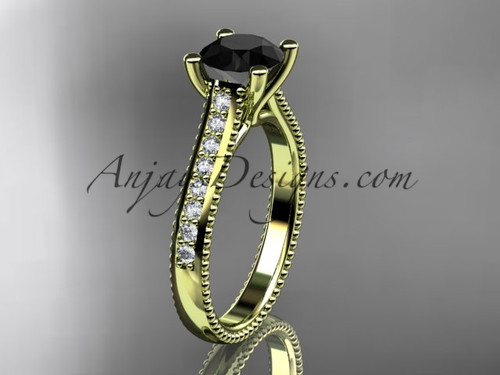 14kt yellow gold diamond unique engagement ring, wedding ring with a Black Diamond center stone ADER116