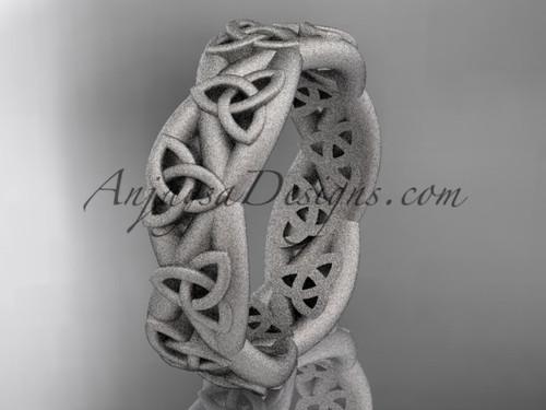 Celtic Wedding Band, Matte Platinum Engagement Ring CT7392G