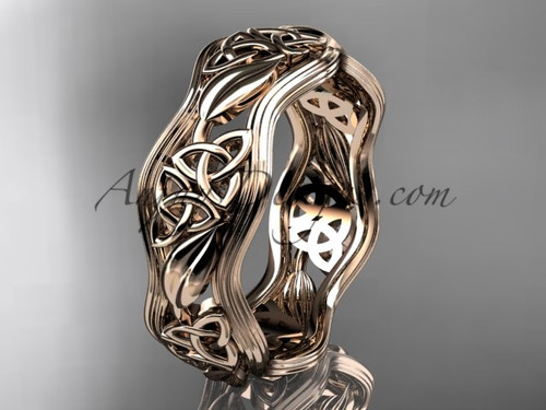 14kt rose gold celtic trinity knot wedding band, engagement  ring CT7504G