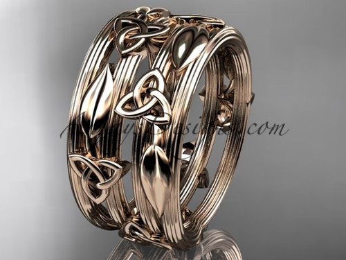 14kt rose gold diamond celtic trinity knot wedding band, engagement ring CT7242B
