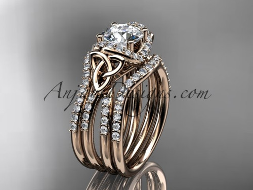 """14kt rose gold diamond celtic trinity knot wedding ring, engagement ring with a """"Forever One"""" Moissanite center stone and double matching band CT7155S"""