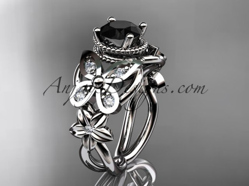 platinum diamond floral, butterfly wedding ring, engagement ring with a Black Diamond center stone ADLR136