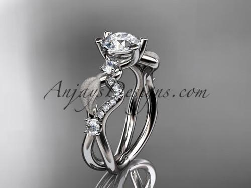 "14kt white gold diamond leaf and vine wedding ring, engagement ring with  ""Forever One"" Moissanite center stone ADLR68"