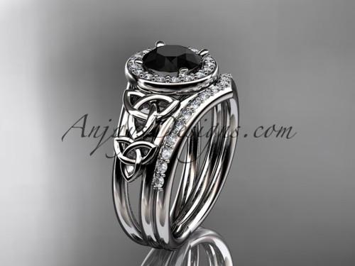 14kt white gold diamond celtic trinity knot wedding ring, engagement set with a Black Diamond center stone CT7131S