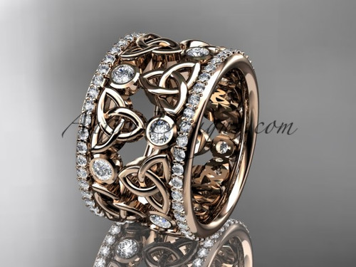 14kt rose gold diamond celtic trinity knot  wedding band, bridal ring CT7232B
