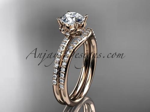 14kt rose gold diamond floral wedding ring, engagement set ADLR92S