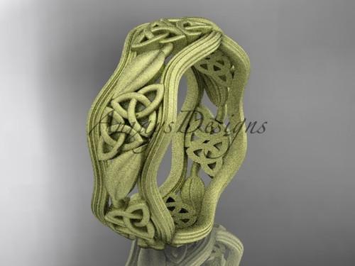 14kt yellow gold celtic trinity knot wedding band, matte finish wedding band, engagement ring CT7510G