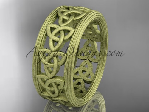 14kt yellow gold celtic trinity knot wedding band, matte finish wedding band, engagement  ring CT7513G