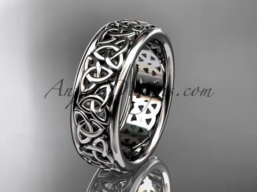Irish Celtic Engagement Ring, Platinum Wedding Band CT7163G