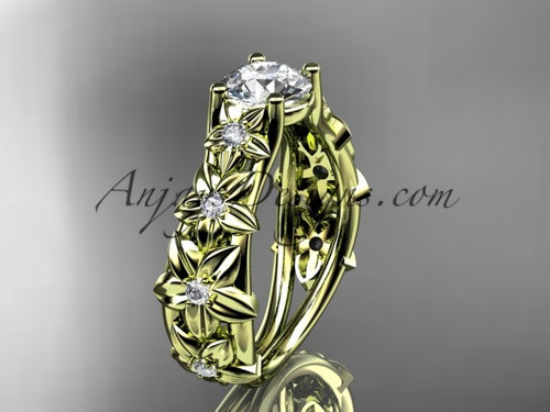 """14kt yellow gold diamond floral wedding ring, engagement ring with a """"Forever One"""" Moissanite center stone ADLR149"""