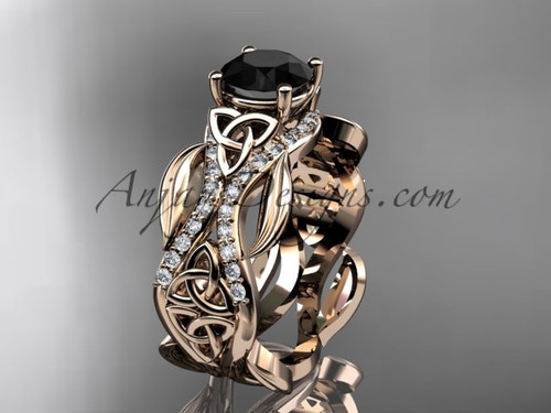 14kt rose gold diamond celtic trinity knot wedding ring, engagement ring with a Black Diamond center stone CT7515