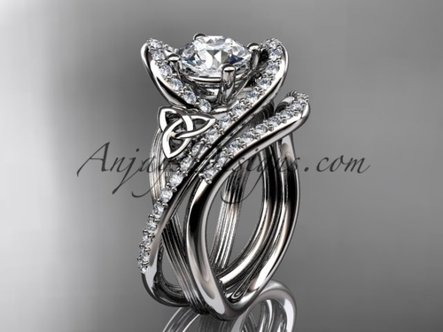 """14kt white gold diamond celtic trinity knot wedding ring, engagement set with a """"Forever One"""" Moissanite center stone CT7369S"""