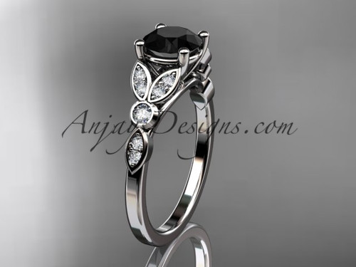 platinum unique engagement ring, wedding ring with a Black Diamond center stone ADLR387