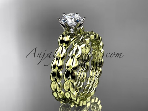"14k yellow gold diamond vine and leaf wedding ring, engagement set with a ""Forever One"" Moissanite center stone ADLR35S"