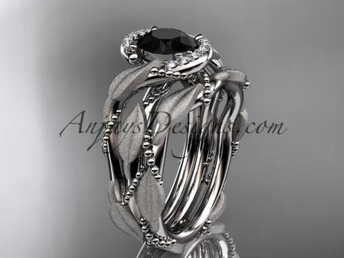 14kt white gold diamond leaf and vine wedding ring, engagement set with a Black Diamond center stone ADLR65S