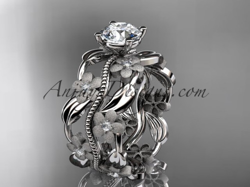 """platinum diamond leaf and vine wedding ring, engagement ring with a """"Forever One"""" Moissanite center stone ADLR188"""