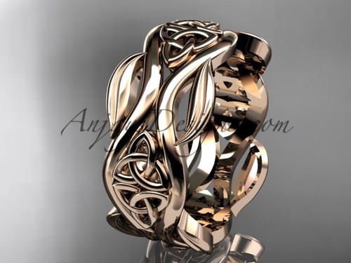 14kt rose gold celtic trinity knot wedding band, engagement  ring CT7264G