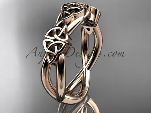 Celtic Engagement Ring, Rose Gold Irish Wedding Band CT7505G