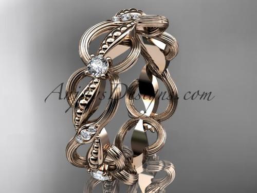 14kt rose gold diamond leaf and vine wedding ring, engagement ring, wedding band ADLR52B