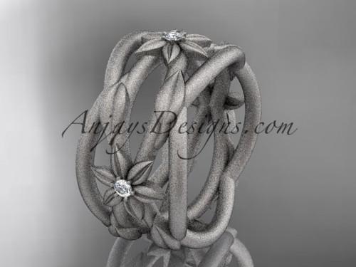 platinum matte finish leaf and vine, flower wedding ring,wedding band ADLR352B