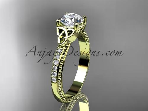 14kt yellow gold diamond celtic trinity knot wedding ring, engagement ring CT7391