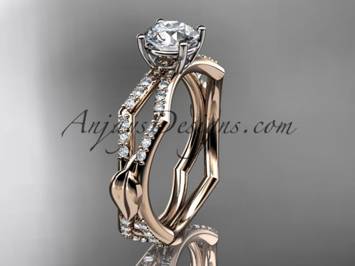 14k rose gold diamond leaf and vine wedding ring,engagement ring ADLR353