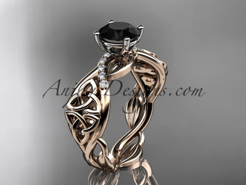 14kt rose gold diamond celtic trinity knot wedding ring, engagement ring with a Black Diamond center stone CT7270