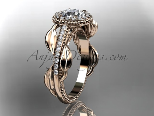 14kt rose gold diamond unique engagement ring, wedding ring ADLR229