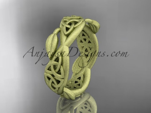 14kt yellow gold celtic trinity knot wedding band, matte finish wedding band,  triquetra ring, engagement  ring CT7520G
