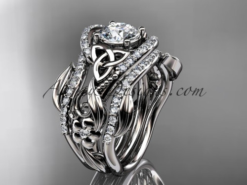 """14kt white gold diamond celtic trinity knot wedding ring, engagement ring with a """"Forever One"""" Moissanite center stone and double matching band CT7211S"""