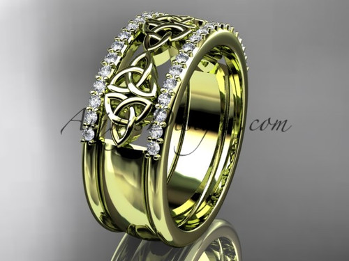 14kt yellow gold diamond celtic band, bridal ring CT7406B