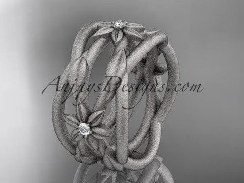 14kt white gold matte finish leaf and vine, flower wedding ring,wedding band ADLR352B