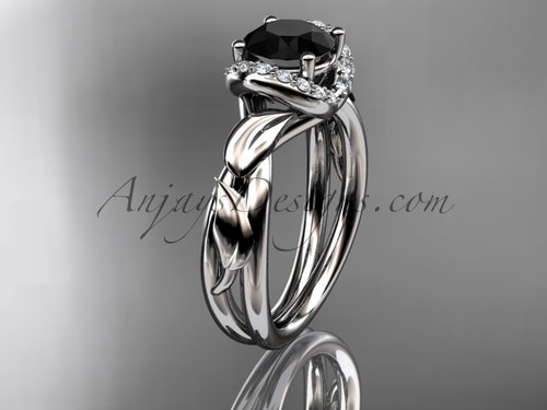 14kt white gold diamond leaf and vine wedding ring, engagement ring with a Black Diamond center stone ADLR289