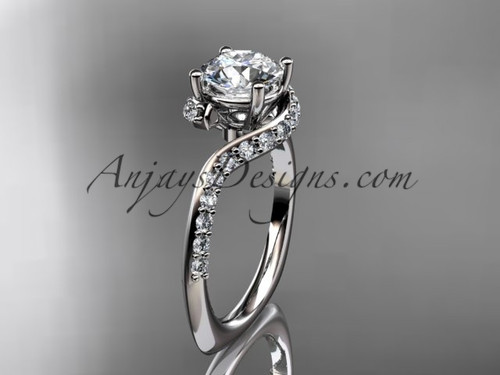 Unique 14k white gold engagement ring, wedding ring ADLR277