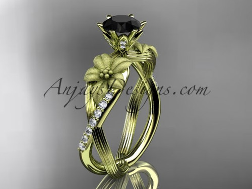 Unique 14kt yellow gold diamond flower, leaf and vine wedding ring, engagement ring with a Black Diamond center stone ADLR221