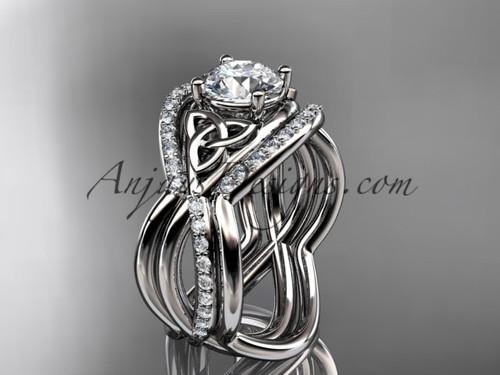 Celtic Bridal Rings White Gold Irish Double Band Ring CT790S