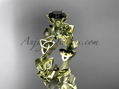 14kt yellow gold diamond celtic trinity knot wedding ring, engagement ring with a Black Diamond center stoneCT7209
