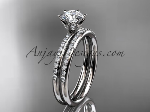 14kt white gold diamond unique engagement set, wedding ring ADER145S